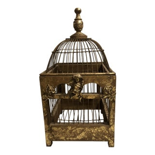 Gold Leaf Tabletop Birdcage For Sale