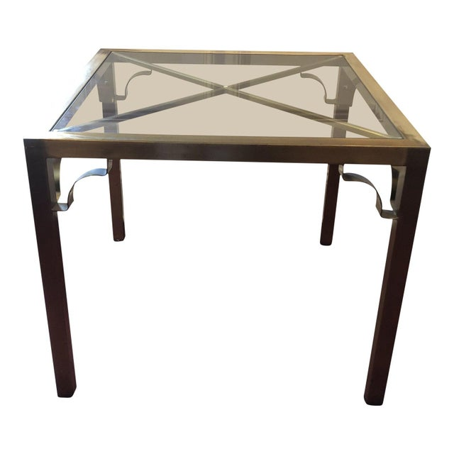 Hollywood Regency Brass & Glass Accent Table For Sale - Image 9 of 9