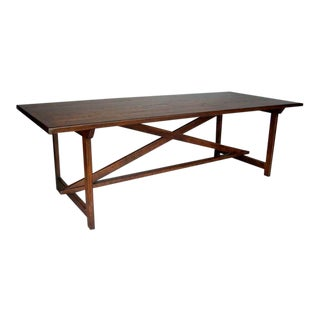 Custom Walnut Wood Tavern Style Table With X Stretcher and Straight Legs For Sale
