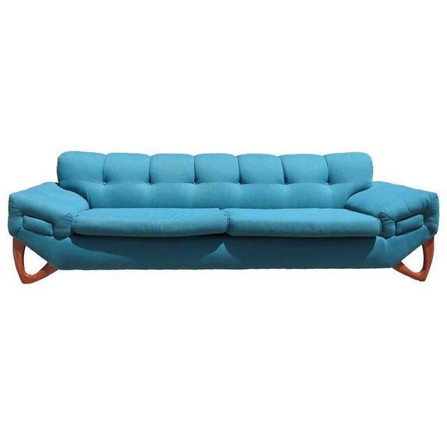 Wood Mid-Century Modern Sofa in the Manner of Adrian Pearsall For Sale - Image 7 of 8