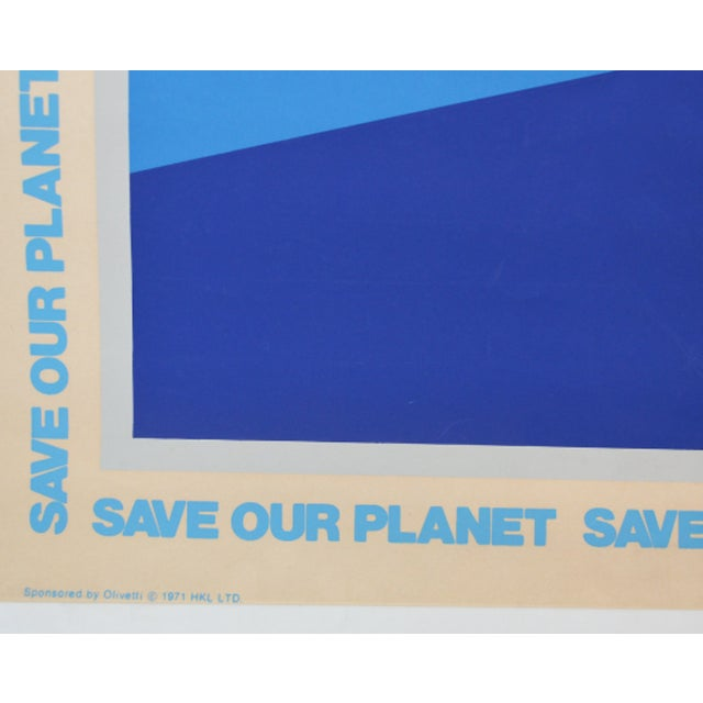 """Mid-Century Modern 1970s Vintage Ernest Trova """"Save Our Planet Save Our People"""" 1971 Sponsored by Olivetti Large 38"""" X 28"""" Serigraph / Silkscreened Poster For Sale - Image 3 of 4"""