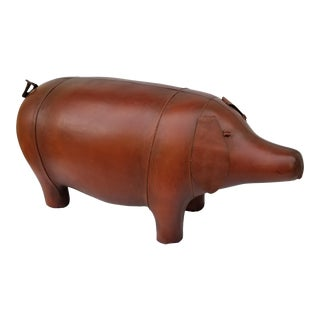 Leather Animal Pig Footstool