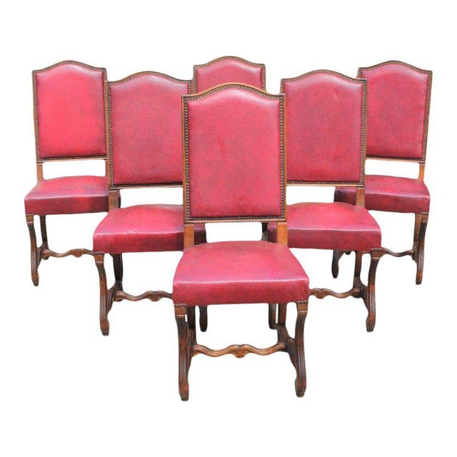 French Louis XIII Style Os De Mouton Red Leather Dining Chairs - Set of 6 For Sale - Image 12 of 13