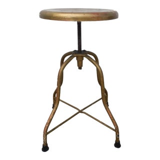 Vintage Mid Century Industrial Swivel Adjustable Metal Stool For Sale