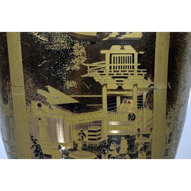 Vintage Hand-Painted Black Gilt Porcelain Vase from 1980s, China For Sale - Image 4 of 10