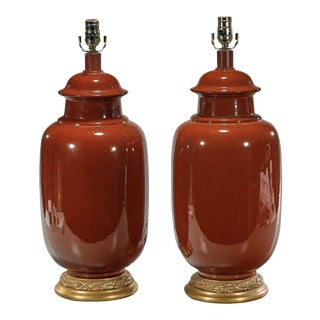 Designer Giltwood & Pigeon Blood Red Pottery Lamps - A Pair