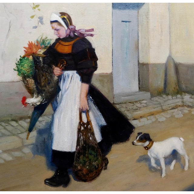 Jacques Wely -Woman & Her Jack Russel Dog Coming From the Market-Oil Painting For Sale - Image 4 of 13