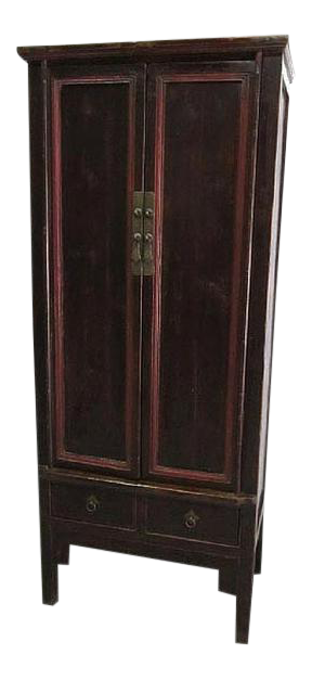 1900s Asian Style Dark Natural Elmwood Armoire With Red Accents