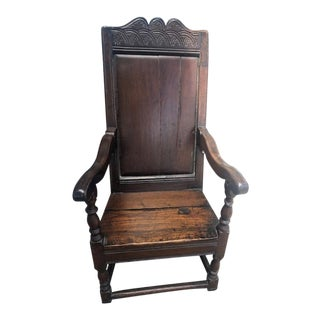 18th Century Antique English Georgian Oak Wainscot Chair For Sale