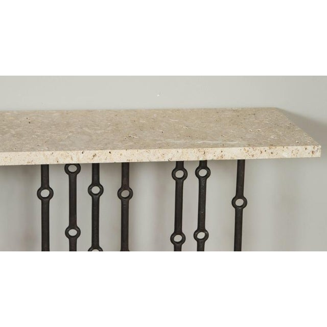 Metal Paul Marra Iron Console With Stone Top For Sale - Image 7 of 7