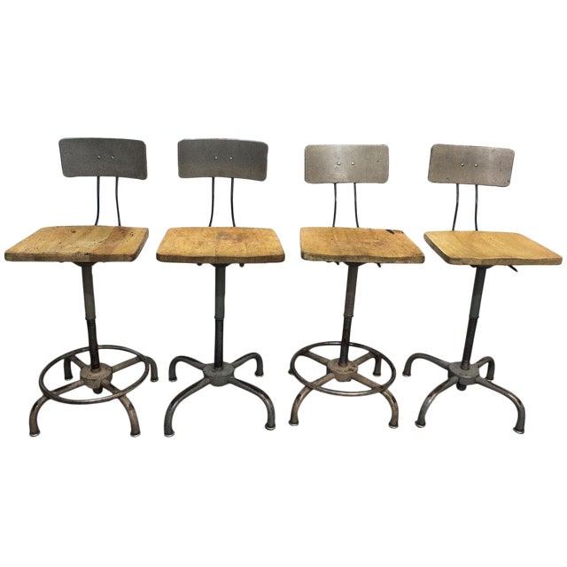 1940s Adjusto Equipment Industrial Stools - Set of 4 For Sale