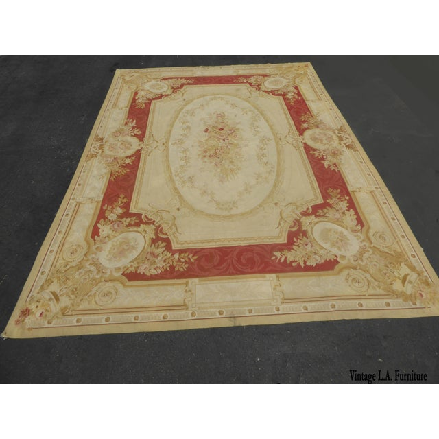 Vintage Tan Floral Aubusson Area Rug - 8′6″ × 11′7″ - Image 3 of 11