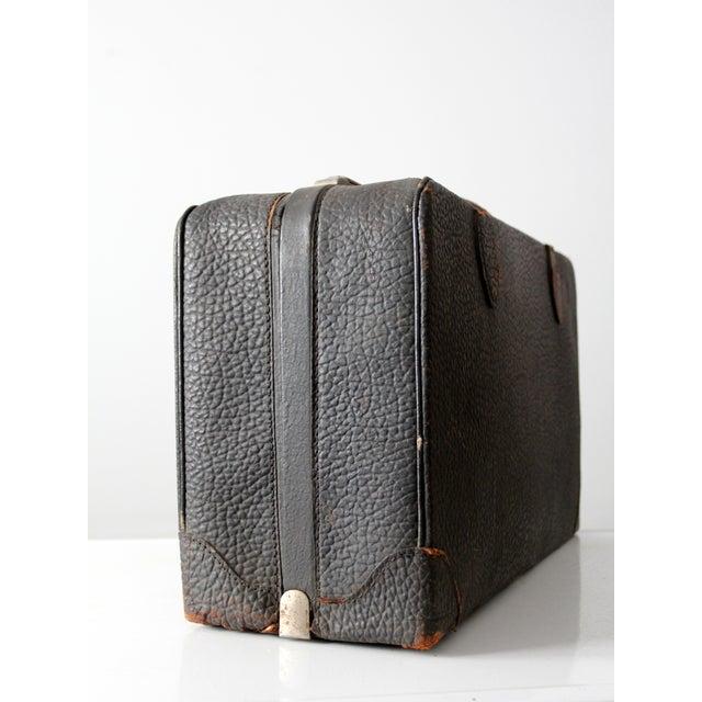 Vintage Black Leather Suitcase - Image 5 of 8