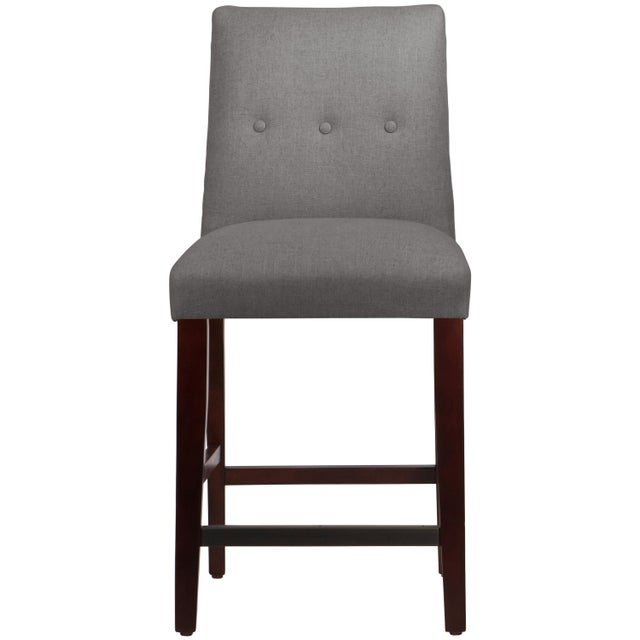 Tufted Linen Grey Tapered Counter Stool For Sale In Chicago - Image 6 of 9