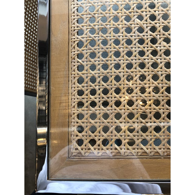 Mid Century Modern Milo Baughman Chrome, Glass and Wicker Game / Dining Table - Image 2 of 11