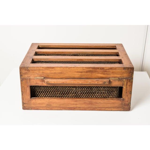 Antique Rattan & Teak Picnic Basket - Image 4 of 7