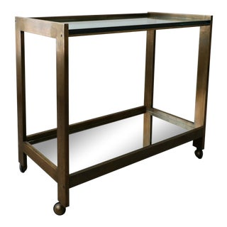 Bronze and Glass Mid Century Bar Cart For Sale