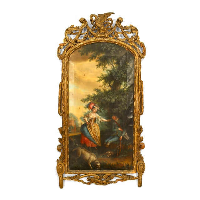 Late 18th Century French Louis XVI Scene With a Dog and a Young Lady Oil Painting For Sale - Image 5 of 5