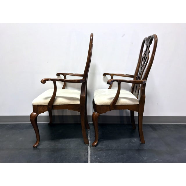 1980s Thomasville Cherry Queen Anne Style Dining Captain's Arm Chairs - Pair For Sale - Image 5 of 12