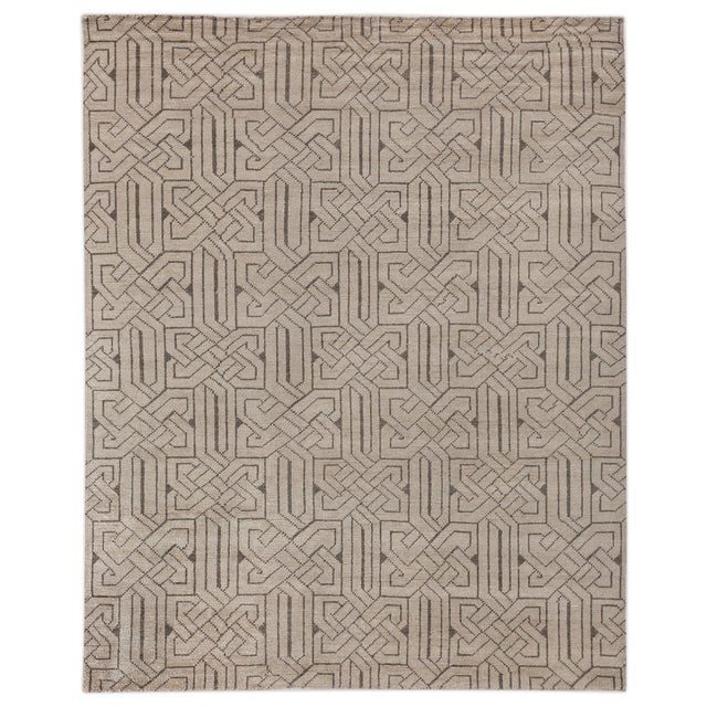 Textile Cambrai Flatweave Wool Ivory/Gray Rug - 9'x12' For Sale - Image 7 of 7