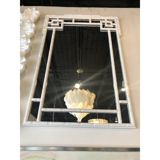 Vintage Palm Beach White Lacquered Greek Key Faux Bamboo Wall Mirror For Sale - Image 10 of 11