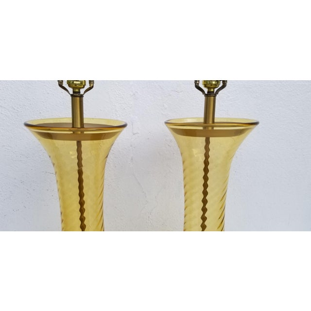 Pair of Tall Vintage Amber Glass Table Lamps For Sale In Miami - Image 6 of 13