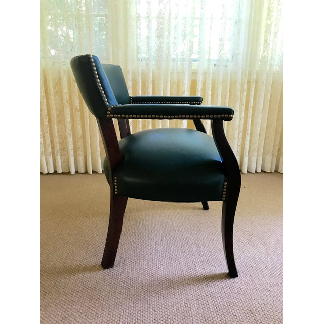 Mid Century Studded Green Leather Library Club Chair For Sale In Chicago - Image 6 of 8