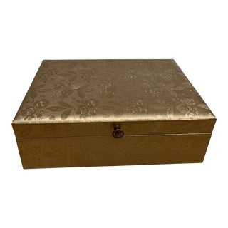 Midcentury Lady Buxton Gold Floral Motif Jewelry Box Storage For Sale