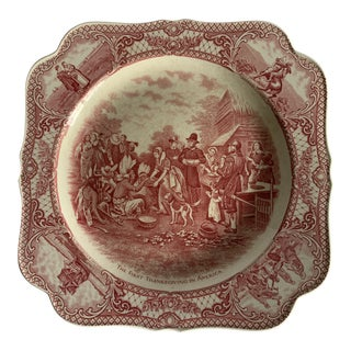 """Crown Ducal """"Viewing the Battle of Bunker Hill"""" Pink Transferware Plate For Sale"""