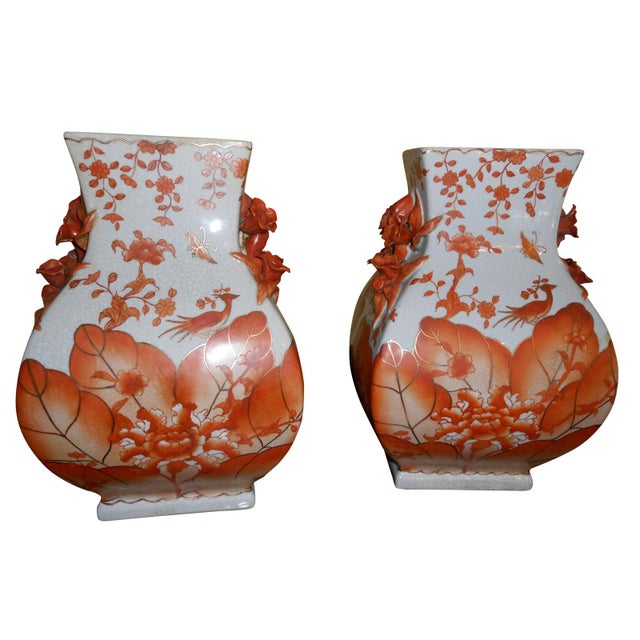 Tall Chinese Vases - A Pair - Image 1 of 3