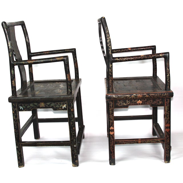 Antique Chinese Lacquered Armchairs - A Pair - Image 3 of 10