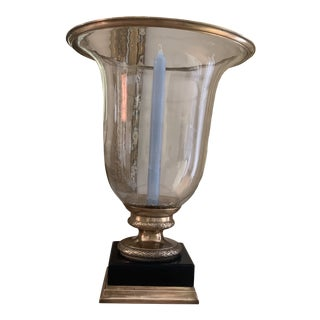 Oversized Hand Blown Glass, Brass and Black Granite Hurricane Centerpeice Candleholder For Sale