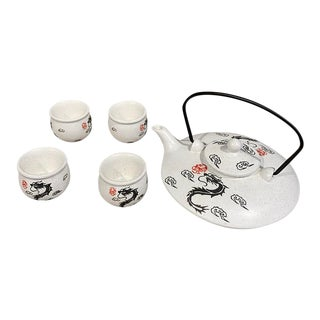 Asian Style Tea Set With Dragon Design - Set of 5 For Sale