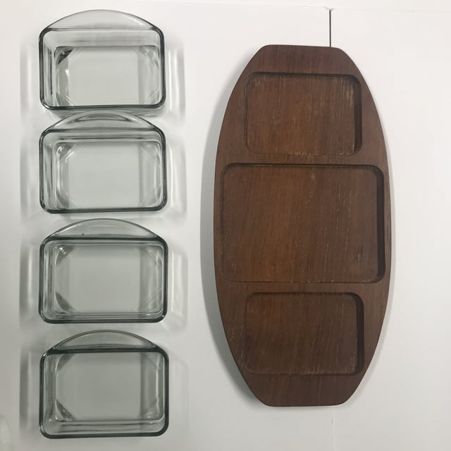 Brostrom, Denmark 1970s Danish Brostrom Design Teak Serving Tray With Glass Inserts - 5 Pieces For Sale - Image 4 of 6
