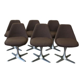 1960s Burke Airplane Style Propeller Base Tulip Dining Chairs - Set of 6 For Sale