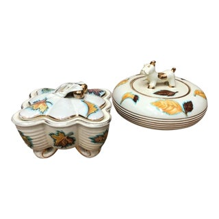1960s Italian Mid-Century Modern Deruta Ceramic Boxes - a Pair For Sale