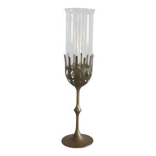 Mid-Century Bjorn Wiinblad Brass Hurricane Candlestick