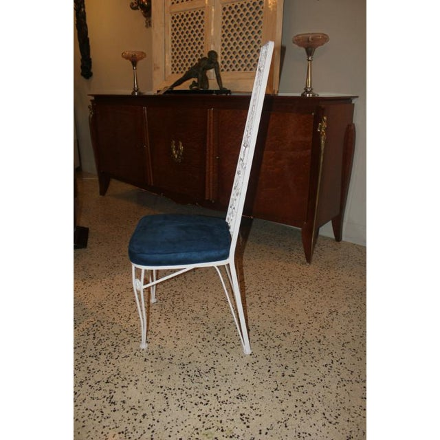 French Art Deco White Lacquered Iron Dining Chairs - Set of 6 - Image 10 of 10