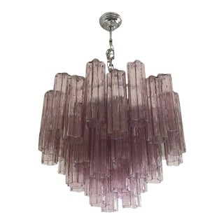"Contemporary Murano Violet Glass ""Tronchi"" Chandelier"