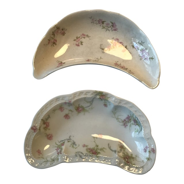 Haviland & Staffordshire Antique Crescent Bone Dishes - A Pair For Sale