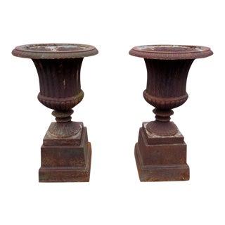 Vintage Cast Iron Garden Urns ~ - a Pair For Sale