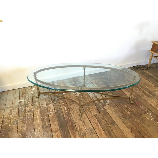 Hollywood Regency LaBarge Hollywood Regency Brass Oval Coffee Table For Sale - Image 3 of 7
