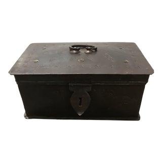 Folk Art Brass Tin Metal Treasure Box For Sale