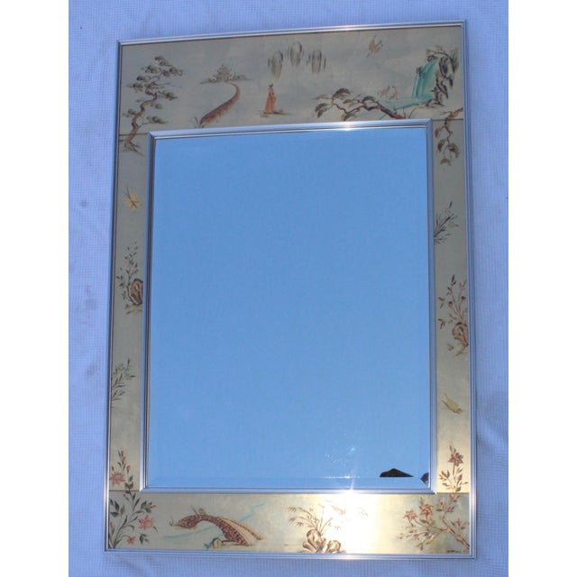 La Barge La Barge Mid-Century Modern Hand Painted Chinoiserie Mirror For Sale - Image 4 of 11