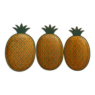 Vintage Woven Pineapple Bowls- Set of 3 For Sale