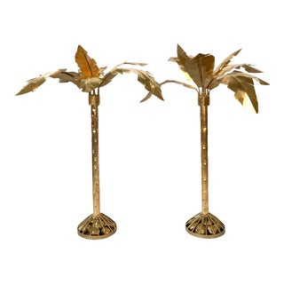 Pair of Hollywood Regency Gold Gilt Metal Palm Tree Sculptures For Sale
