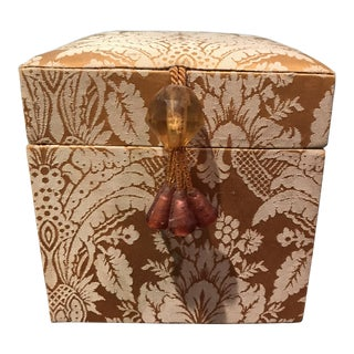 Gold & Ivory Patterned Fabric Beaded Tassel Decorative Box For Sale