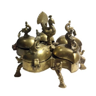 Antique Indian Brass Spice Holder For Sale