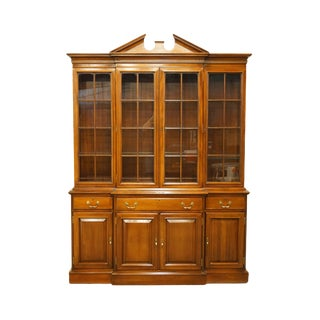 Link Taylor Furniture Solid Mahogany Chippendale Traditional Breakfront Display China Cabinet For Sale