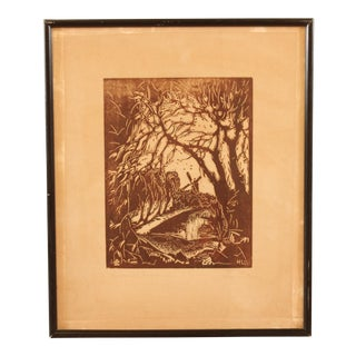 Windmill through the Trees' Block Print For Sale